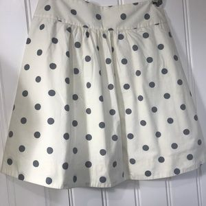 J. Crew polka dot skirt size 2 Cream and silver